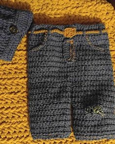 "Crochet Baby Ripped Jeans ... These ""ripped"" jeans will make the perfect photo prop for your newborn. This pattern is for the pants only, not the hat."