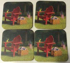 Longaberger Set 4 COASTERS Basket Summer chair Americana Hostess Gift   lot 1 #Longaberger