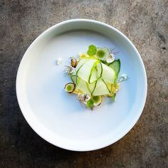 Salad of cucumber// fresh cheese slightly smoked// pickled and charred pearls// fermented apple// carrot top ash// nasturtium oil - by @dennis.eats Tag your best plating pictures with #armyofchefs to get featured! ------------------------ #foodart #truecooks #foodphoto #chefsroll #chefsofinstagram #foodphotography #hipsterfoodofficial #foodphotographer #gastroart #wildchefs #delicious #instafood #instagourmet #gourmet #theartofplating #gastronomy #foodporn #foodism #foodgasm #plating…