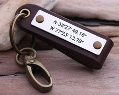 Latitude Longitude keychain  Mens GPS Leather by aimeehandmade