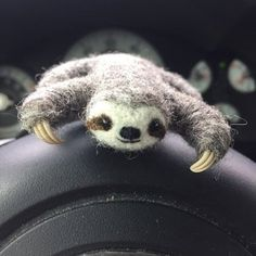 Sloth necklace, Three toed brown sloth pendant, Needle felted sloth jewelry, Baby sloth gift for her - Nadelfilzen Ideen Needle Felted Animals, Felt Animals, Needle Felting, Cute Animals, State Of The Art, State Art, Baby Sloth, Cute Sloth, Adopt A Sloth