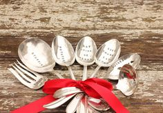 7 Piece Serving Set,  Table Decor, Christmas, Thanksgiving, Silver Plate, Spoons, Fork, Ladle, Eat Drink Be Merry on Etsy, $149.00