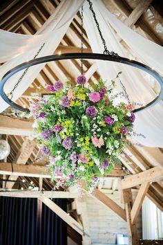 Ceiling Floral from weddingideasmag.com  danielle-david-real-wedding-35