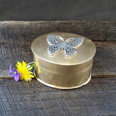 Butterfly Brass Trinket Box - Silver Pewter Butterfly - Gold Snuff Box - Vintage by TheCherryAttic on Etsy