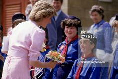 May 31, 1985:  Diana,  Princess of Wales meets girl guides outside the Poolemead centre for the Deaf in Twerton on Avon, Bath, Avon. (Photo by David Levenson/Getty Images)