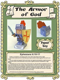 The armor of God and Ephesians 6 paper 3D toy free file and tutorial
