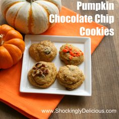 Pumpkin Chocolate Chip Cookies on ShockinglyDelicious. Recipe here: http://www.shockinglydelicious.com/?p=9972