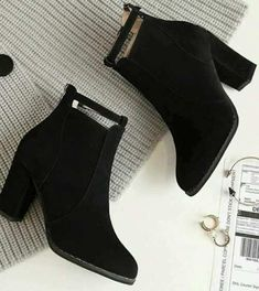 Trendy ankle boots in black – Just Trendy Girls Lace Up Combat Boots, Wedge Boots, Black Ankle Boots, Black Shoes, Shoe Boots, Shoes Heels, High Heels, High Boots, Trendy Shoes
