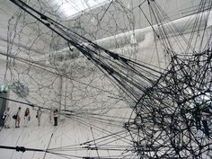 Tomás Saraceno. 2009.  galaxies forming along filaments, like droplets along the strands of a spider's web. at venice art biennale 09