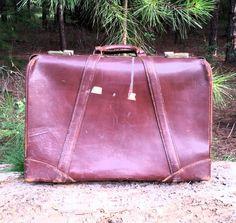 Vintage luggage Vintage suitcase Travel Decor by CnCVintageFinds