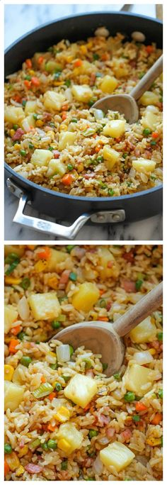 Pineapple Fried Rice - A quick and easy weeknight meal thats so much cheaper, tastier and healthier than take-out!