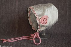 Baby Girl Hat, Newborn Bonnet Hat in Silver Gray with Pink Flower, Great for Photo Prop