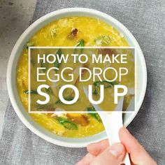 This easy Chinese egg drop soup is ready in less than 15 minutes and tastes just like the soup at your favorite Chinese restaurant! It's made with eggs, ginger, green onions, and mushrooms. Healthy Soup Recipes, Vegetarian Recipes, Cooking Recipes, Homemade Egg Drop Soup, Asian Soup, Chinese Egg, Soup And Salad, Chinese Restaurant, Asian Recipes