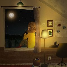 """""""In the lonely night, I look up the sky and remember everything that happen to me. Good and bad is blessing from the God, only God knows why.""""  .  .  .  .  .  #illustration  #illustrator  #drawing  #gambar  #illustgram  #dongeng  #fairytale  #girl  #night  #coffee  #moon  #cartoon  #bedroom  #liliostory  #childrenillustrator  #storytelling  #visualstorytelling  #story  #digitaldrawing  #photoshop  #digitalcolouring  #warm  #bestillustration  #kreavi"""