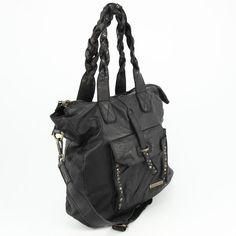 Italienische Echt Leder Handtasche Ledertasche Used Look Vintage Nieten Italien Josual Schwarz Jeans groß www.styleup.eu