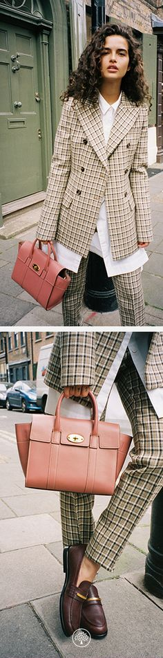 Small New Bayswater Bag in Antique Pink, Grace Jacket in Light Grey, Joanne Trousers in Light Grey and the Cambridge Bar Loafers in Burgundy at Mulberry.com.