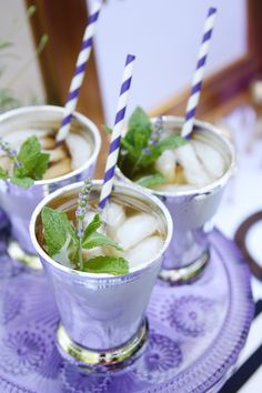 Lavender Mint Juleps. @Stephanie Close Haschke. Someday, we should have another Derby party complete with bird hats.