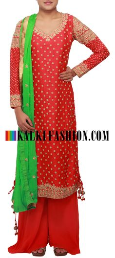 Get this beautiful salwar kameez here: http://www.kalkifashion.com/straight-fit-suit-featuring-in-red-embellished-in-sequence-and-zari-only-on-kalki.html Free shipping worldwide.