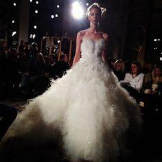 Another wedding gown at the Marchesa show. Photo by @Elizabeth Holmes #marchesa #nyfw #wsj #wedding #bridal