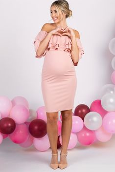 f5b2dc4575c Light Pink Layered Ruffle Off Shoulder Fitted Maternity Dress. Maternity  Dresses ...