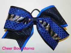 Blue and Black Zebra Cheer Bow by Cheer Bow Mama