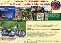 Yamaha TX 750-Treffen 19.-21. Juni 2020, Allgäu/D. Steyr, 21 Juni, Yamaha, Motorcycle, Reunions, Antique Cars, Motorcycles, Motorbikes, Engine