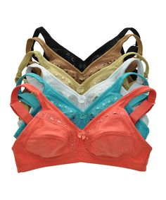 Coral & Teal Floral Pattern Soft-Cup Wireless Bra Set - Plus Too