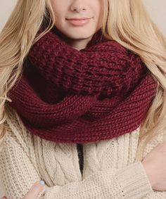 Look what I found on #zulily! Leto Collection Burgundy Chunky Knit Infinity Scarf by Leto Collection #zulilyfinds