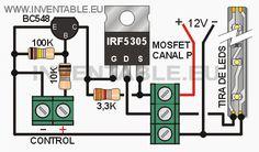 Эта небольшая схема позволяет управлять с помощью микроконтроллера (например, Arduino) полосы одиночных светодиодов цвета или любого типа мощности нагрузки (двигатели или лампы) 12В. BC548 транзистор усиливает стробирующий сигнал управления таким образом, чтобы МОП-транзистор достаточно, чтобы довести его до полного напряжения насыщения. По этой причине, схема работает с широким диапазоном управляющих напряжений (1.8V, 3.3V или 5V) и нет необходимости использовать специальный низкого…