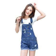 c826f5b5f2a Womens Jumpsuit Denim Overalls Summer Jumpsuits   Rompers Casual Strap Hole  Ripped Pockets Shorts Jeans Coverall LT1A-in Rompers from Women s Clothing  ...
