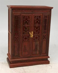 Miniature Carved Rosewood Display Cabinet Apprentice Furniture Chinese