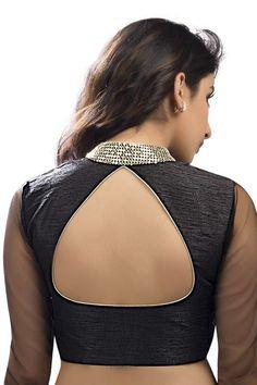 #Black & silverish #gold designer wear raw #silk lovely #blouse with full sleeves -BL759