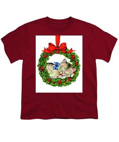 Youth T-Shirt - Kitten In A Christmas Wreath
