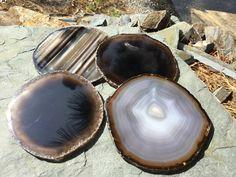 Brown Agate Coasters Set of 4 ~ Agate Coasters DARK BROWN GRAY ~ Geode Coasters Geode Coaster Set ~ Brown,Agate Brown by HandmadeByGin on Etsy