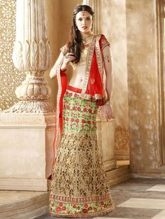 Green and Beige Net Lehenga Choli with Embroidery Work