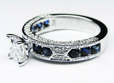 Engagement Ring Diamond Surrounding Sapphire 57