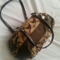 Coach Signature Hand Bag Original brown Coach Bag. Great roomy shape.  Slightly used but in excellent condition. Coach Bags Shoulder Bags