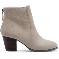Sole Society Chris Mixed Materials Bootie ($45) ❤ liked on Polyvore featuring shoes, boots, ankle booties, taupe, taupe ankle boots, stacked heel bootie, ballerina pumps, stacked heel boots and stacked heel booties