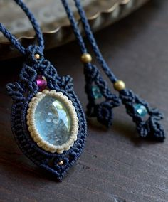 アクアマリン&ピンクトルマリン(ルベライト)&ブルーアパタイト天然石マクラメ編みペンダント