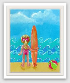 Childrens surf art surfer girl beach nursery by MagicMarkingsArt