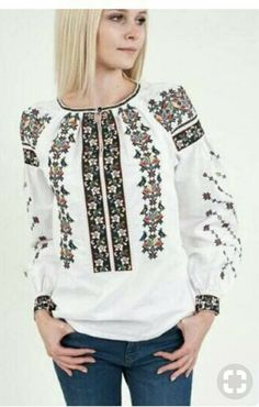 Polish Embroidery, Folk Embroidery, Embroidery Dress, Clothing For Tall Women, Clothes For Women, Dress Over Jeans, Mexican Fashion, Neckline Designs, Altered Couture