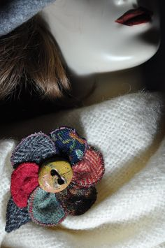 rainbow winter coat pin donegal irish tweed cape pin brooch OOAK handmade corsage jacket scarf wrap coat hat flower 12 cm fabric button new by edgeofthesand on Etsy Corsage Wedding, Bling Wedding, Coat Pin, Wedding Gifts For Parents, Corsage Pins, Fabric Brooch, Boho Beautiful, Wool Cape, Wrap Coat
