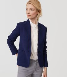 Loft - Textured Collarless Blazer in blue (petite, regular) | starting in size 00 petite | Textured, collarless cut jacket for sleek appeal, one button front.