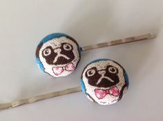 Pug, Bobby pins, Pug fabric covered button bobby pin pair by Luluandt on Etsy