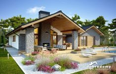 Small Modern House Plans, Beautiful House Plans, New House Plans, Dream House Plans, Bungalow Floor Plans, Modern Bungalow House, Plan Chalet, Modern Farmhouse Exterior, House With Porch