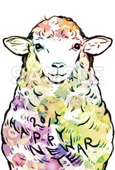 「モコモコヒツジの もこもこ HAPPY NEW YEAR[カラー和柄]」の年賀状デザインイメージ