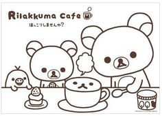 Free printable Rilakkuma pages for coloring, perfect for a rainy day. Bear Coloring Pages, Printable Coloring Pages, Coloring Pages For Kids, Coloring Sheets, Coloring Books, Rilakkuma, Kawaii Diy, Kawaii Cute, Pusheen