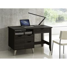 Simple and architectural, the Mckenzie Dark Brown Wood 4-drawer Home Office Study Desk is reminiscent of modern and comtemporary design.
