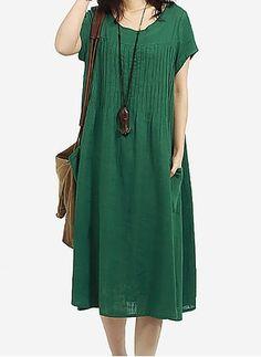 Linho Reto Manga curta Longuete Informal Vestidos de (1049293) @ floryday.com
