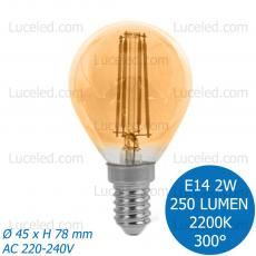 FSL® LAMPADINA LED MINIGLOBO FILAMENTO AMBRATA E14 2W G45 FASCIO LUCE 300° 250LM